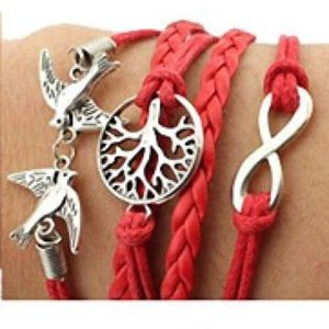 ❤️ Red Woven Leather Braided ♾ Infinity ♾ Bracelet